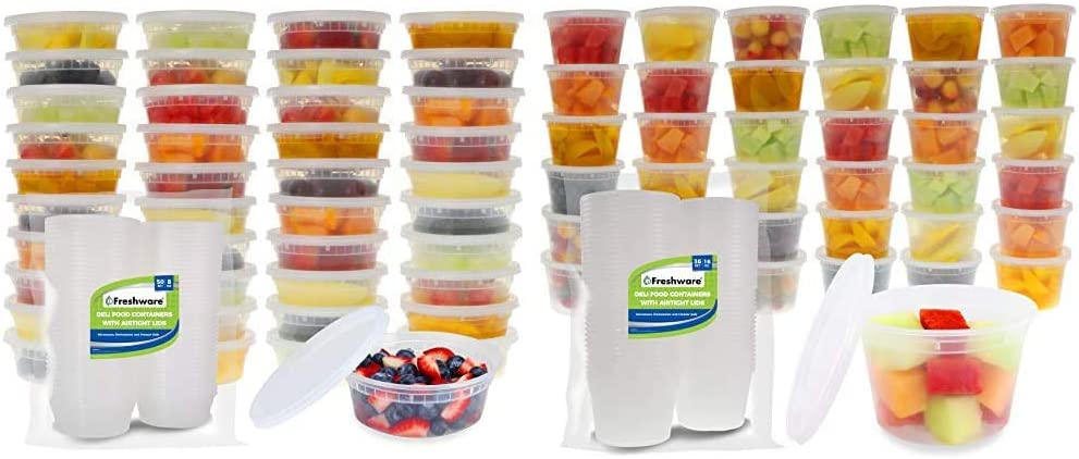 Freshware Food Storage Containers [50 Set] 8 oz Plastic Deli Containers with Lids, Slime, Soup, Meal Prep Containers & Food Storage Containers [36 Set] 16 oz Plastic Deli Containers