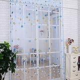 "SHZONS Cartoon Stars Tulle Voile Door Window Curtain Drape Panel Scarf Sheer Valances for Home Decor 39.37""x 78.74"""