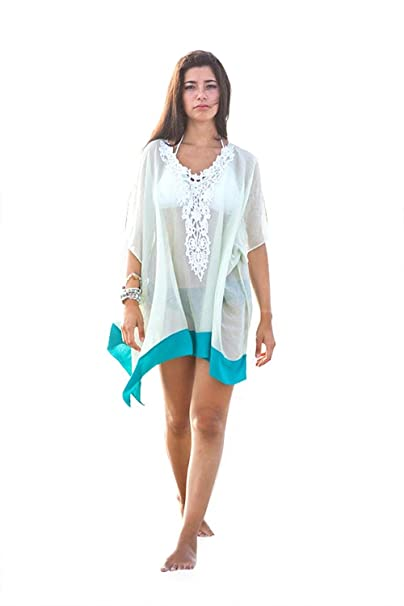 499b1de4ad Image Unavailable. Image not available for. Color: Womens Fashion Oversized  Lace Swimsuit Beach Cover Up Summer Dress-Mint/Blue