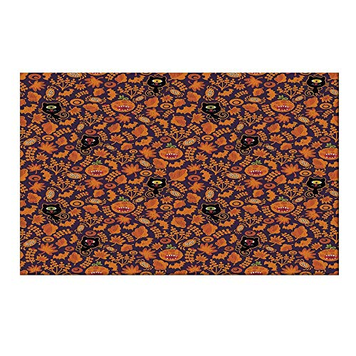YOLIYANA Vintage Halloween Durable Door Mat,Halloween Themed Elements on a Purple Background Scary Mosters Decorative for Home Office,19.6