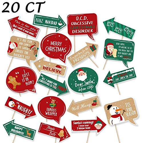 20Ct Christmas Party Photo Booth Props - Funny Xmas Holiday Decorations Supplies (Photos Funny Xmas)