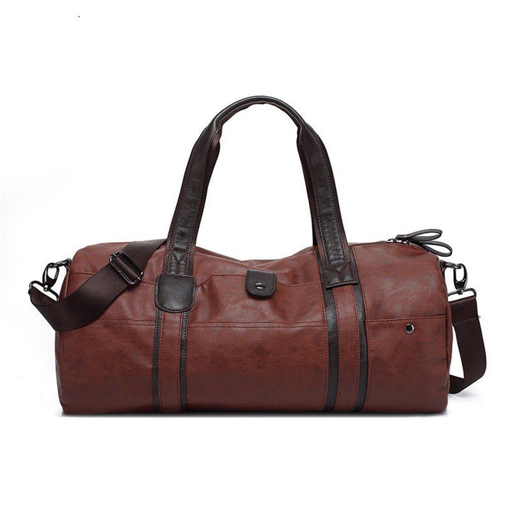 Leather Men Travel Shoulder Bag Men Gym Bag Korea Fitness Bag Equip HY018 Brown by Breadaye