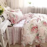TideTex Rural Style Bedding 4pc Maiden Pink Rose Pattern Duvet Cover Romantic Princess Floral Bedding Retro Printing Lace Flouncing Bed Skirt Pure Cotton Home Textiles (Queen, flower)