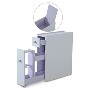 homcom bathroom cabinet floor standing cupboard modular shelves slide out toiletries storage white