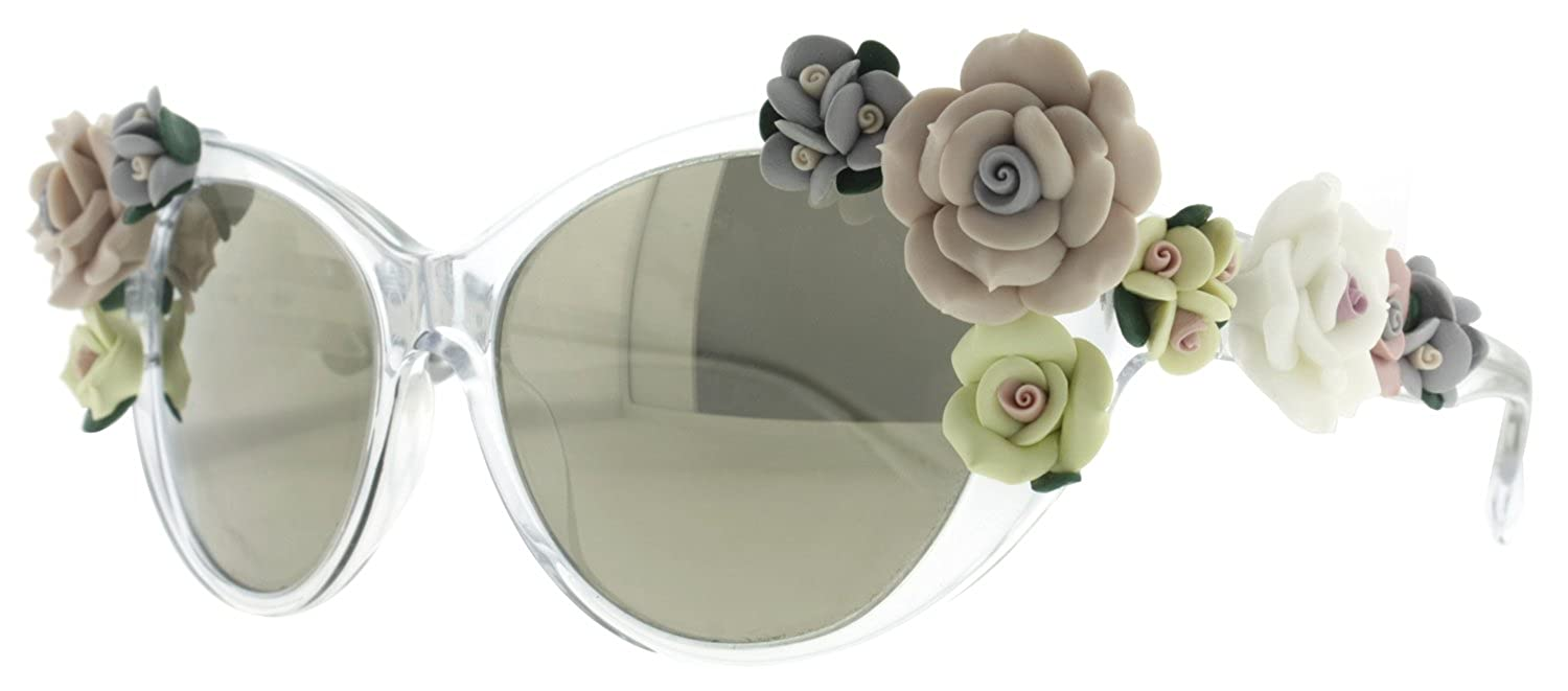 d23c738073 Dolce   Gabbana Women s 4180 Flowers Crystal Frame Brown Mirror Gold Lens  Plastic Sunglasses  Amazon.co.uk  Clothing