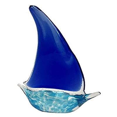 Biedermann & Sons 2-Tone Blue Glass Sailboat, Medium: Home & Kitchen