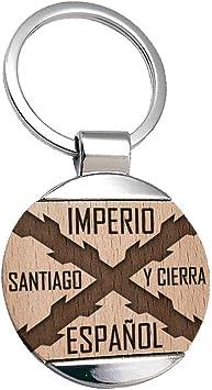 Llavero Imperio español Cruz de Borgoña Tercios de España Santiago - Llavero Grabado en de Madera de Haya Natural y Metal: Amazon.es: Equipaje