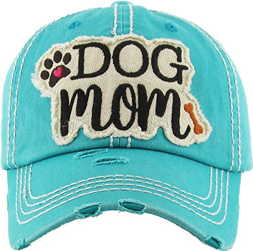 H-212-DM46 Distressed Baseball Cap - Dog Mom (Teal)