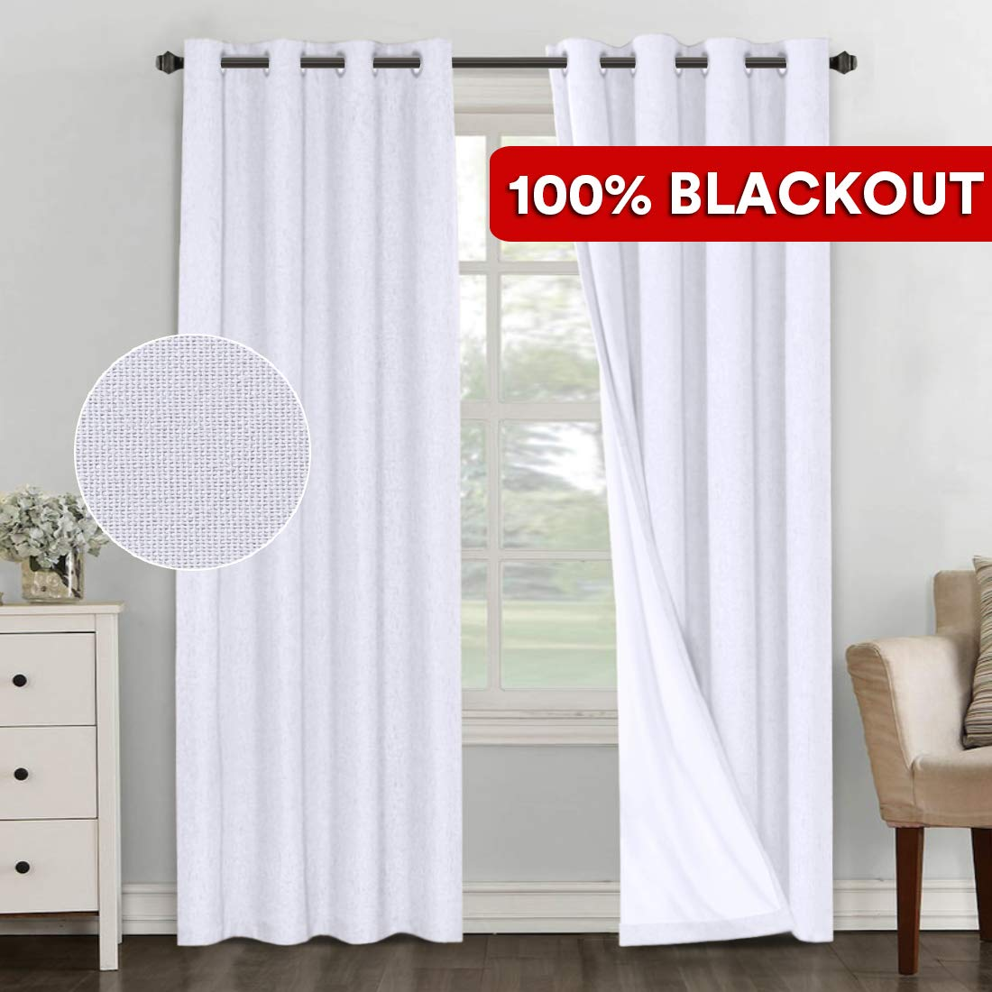 Souldproof Energy Efficient Window Treatment Panels PrimeBeau 100/% Blackout Linen Curtains Grey Heavy-Duty Thermal Insulated Curtain Drapes for Bedroom//Living Room 84 Inches Length