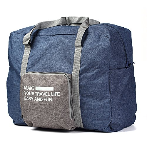 Foldable Lightweight Nylon Duffel Luggage Bag Tote for Travel Gym Camping 4 Colors (Navy)