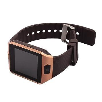 Amazon.com: eDealMax Lost-Anti DZ09 podómetro cámara tono SIM tarjetas Reproductor de MP3 inteligente reloj de oro Para iOS teléfono Android: Electronics