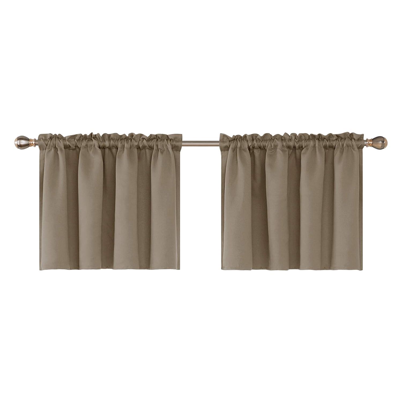 Deconovo Rod Pocket Blackout Curtain Textured Embossed Valance for Bedroom