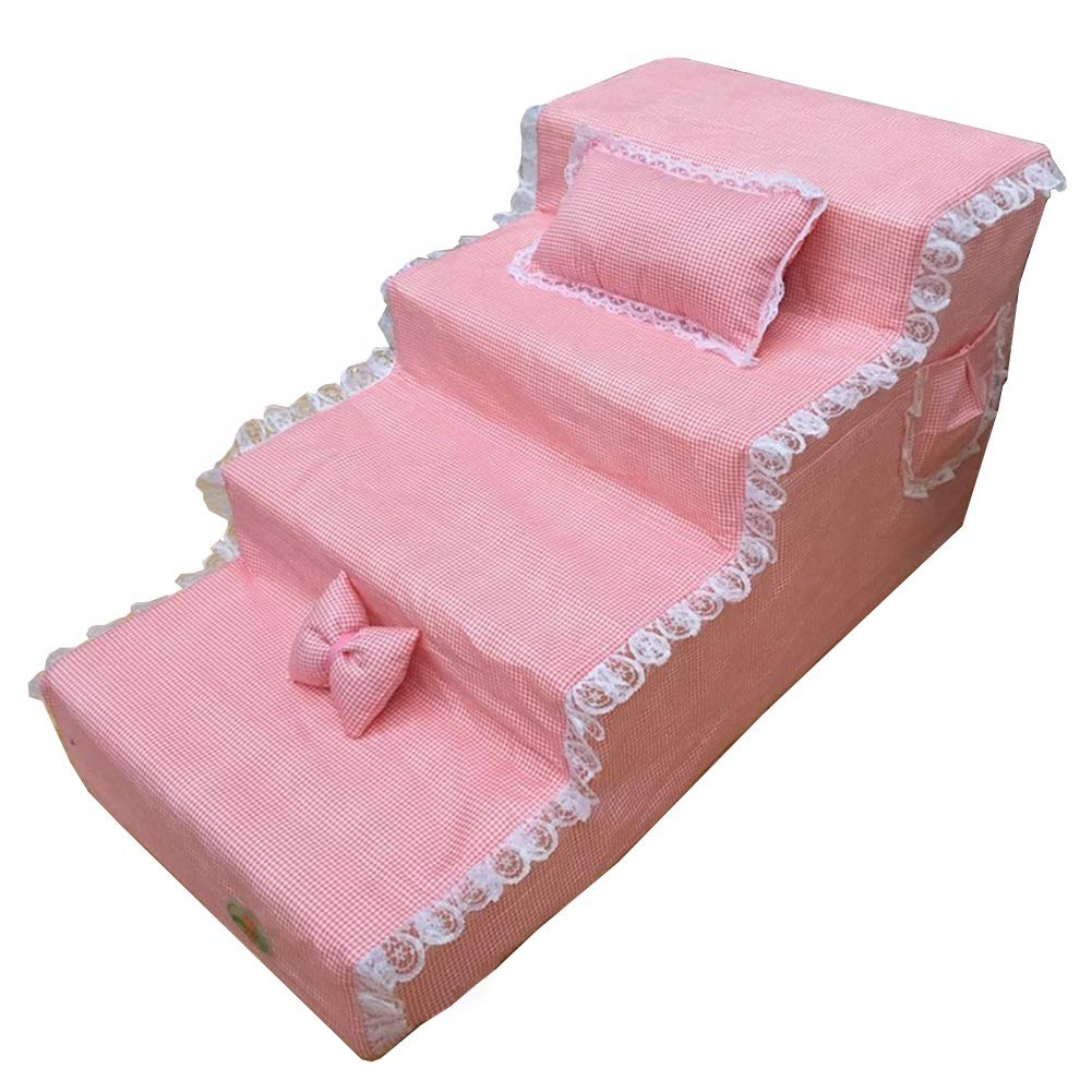 Pet Stairs Dog 4 Steps for High Bed, Portable Cats Animals Doggy Ladder for Tall Couch Bed