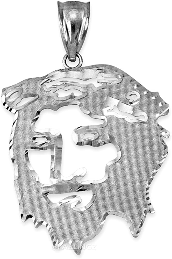 L-1.50 LA BLINGZ 14K White Gold Jesus Face DC Mens Pendant