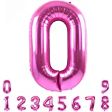 40 Inch Pink Large Numbers Balloon 0-9(Zero-Nine) Birthday Party Decorations,Foil Mylar Big Number Balloon Digital 0 for Birthday Party,Wedding, Bridal Shower Engagement Photo Shoot, Anniversary