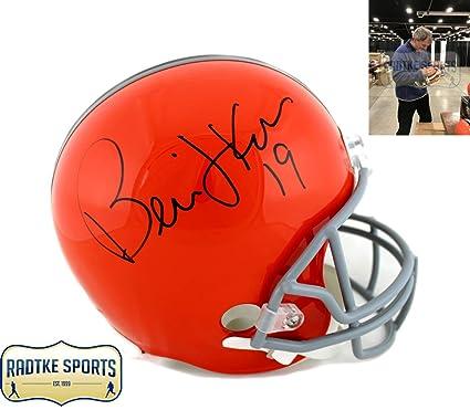 ca760e649 Bernie Kosar Autographed/Signed Cleveland Browns NFL Riddell Throwback Full  Size Helmet
