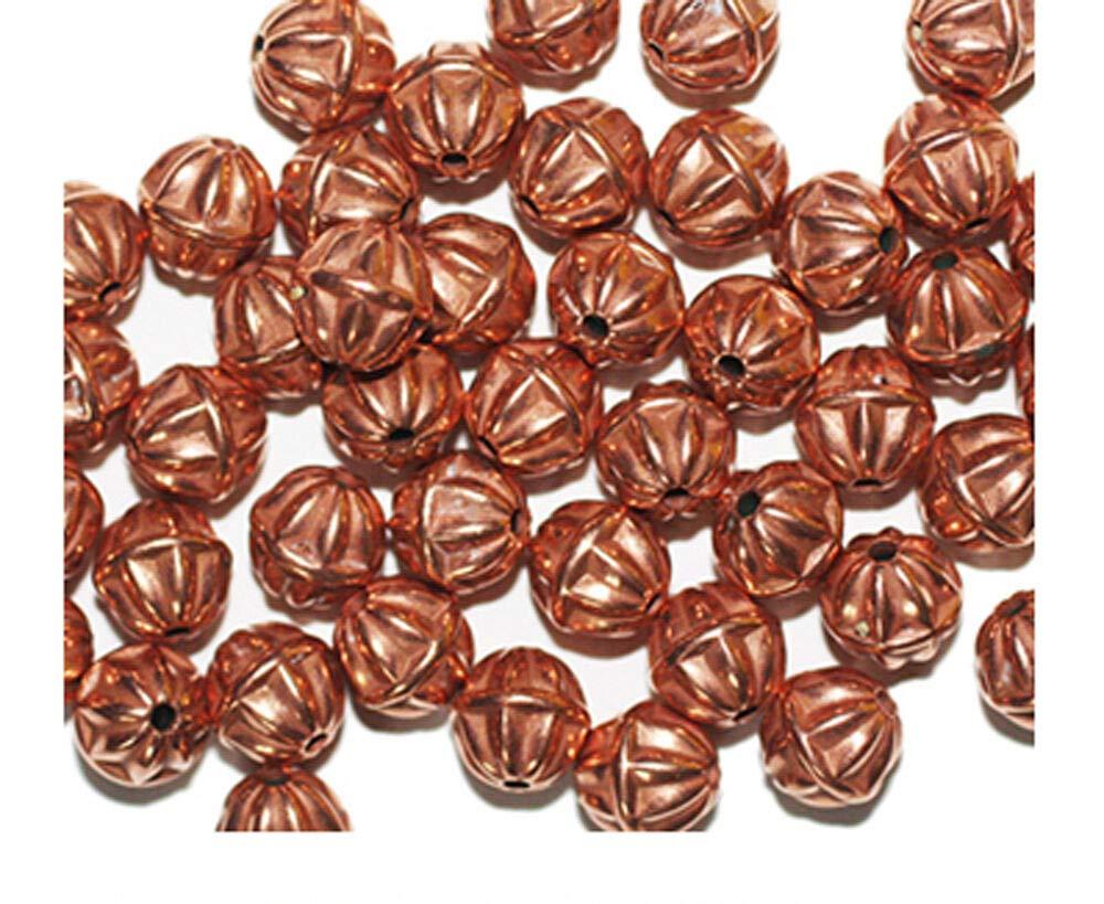 Star Round 8mm Bright Copper Metalized Metallic Beads