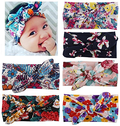 Wrap Design T-shirt - Toptim Baby Girl's Turban Headband Head Wrap Knotted Hair Band(6 Pack)Bohemian Rabbit Ear, One Size
