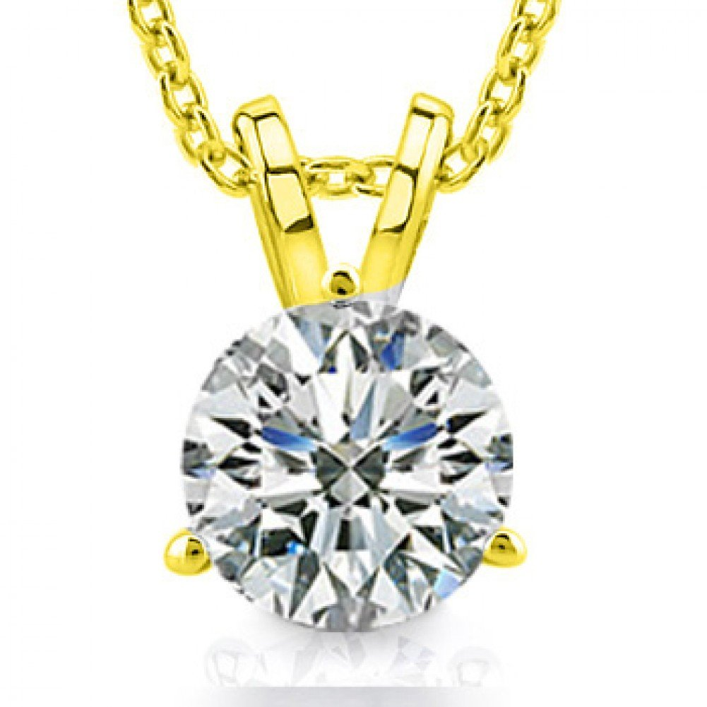 0.50 Ct Ladies Round Cut Diamond Soitaire Pendant / Necklace in 14 kt Yellow Gold
