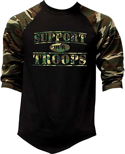 634537847 Men's Support Our Troops US Army Tee Black/Camo Raglan Baseball T-Shirt  Small