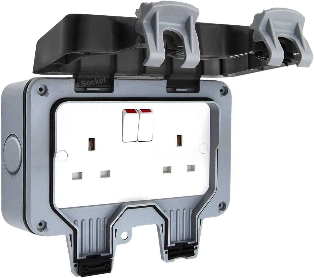 Double Waterproof Outdoor 13Amp Storm Switched 2 Gang Socket IP66 Outside Use: Amazon.co.uk: Kitchen & Home