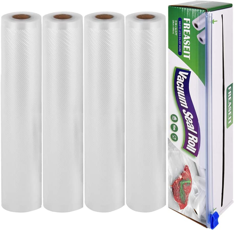 "Vacuum Sealer Bag Rolls for Food, BPA Free Heavy Duty Plastic Sealer Vacuum Packing Bags for Food Saver (4 rolls 11""x16.5')"