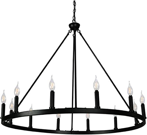 Cenports Canyon Home 12 Light Chandelier Wagon Wheel 37″ Wide Matte Black Steel Frame/Large Home Decoration/Foyer