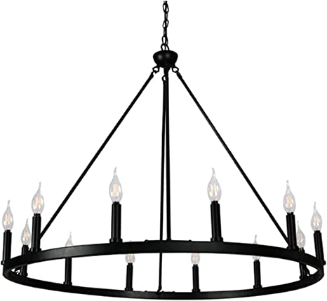 Cenports Canyon Home 12 Light Chandelier Wagon Wheel 37 Wide Matte Black Steel Frame Large Home Decoration Foyer Entryway Dining Room Amazon Com