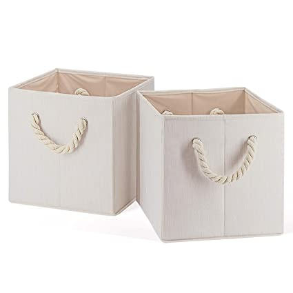 MiiKARE Foldable Storage Bins for Cube Organizer with Ultra Strong  Removable Rope Handles, Waterproof Storage Containers Baskets Bins Drawer  Box [13 x