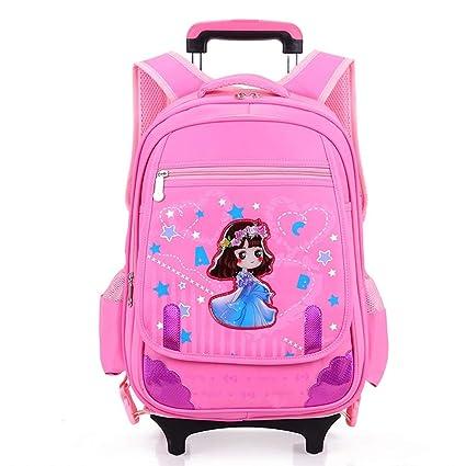 Geromg Wheeled School Backpack Wheels Kids Travel Trolley Bag Schoolbag Kids Children School Bags Girls Boys