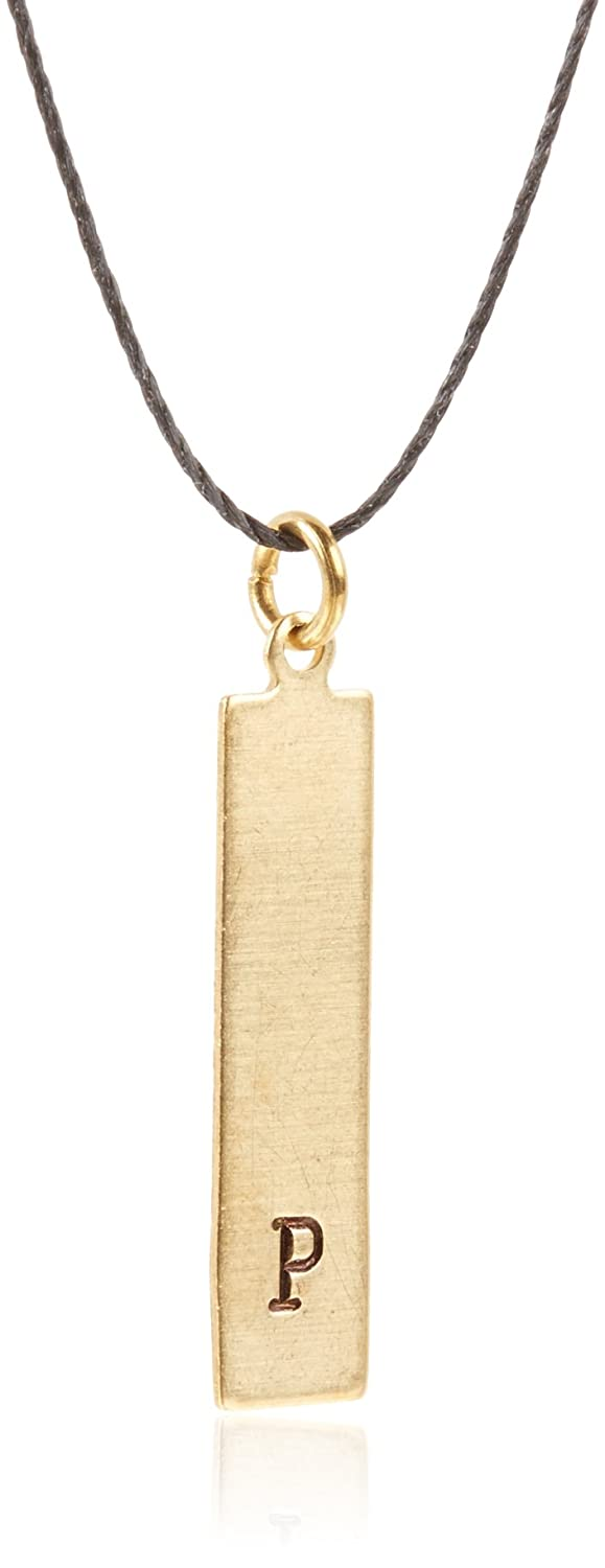 P Solstice Womens Brass Rectangle Necklace