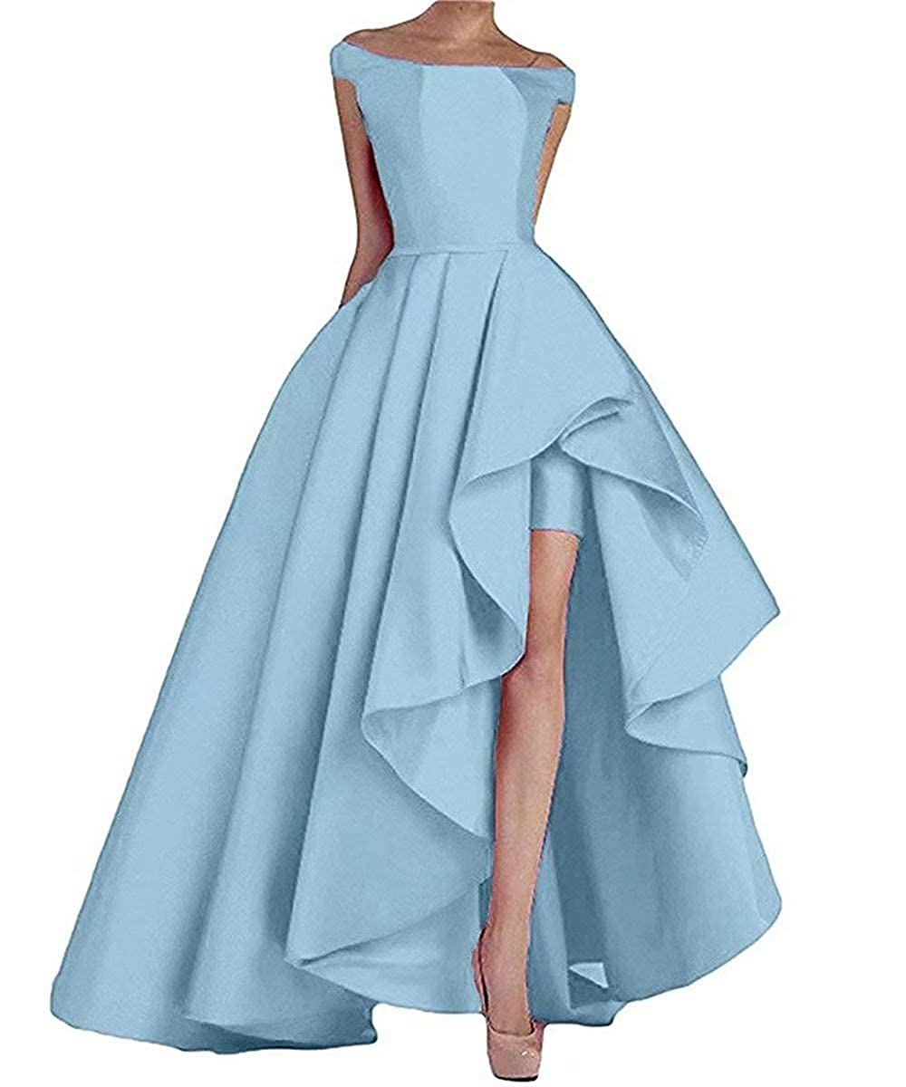 Sky bluee RONGKIM Women's High Low Off The Shoulder Evening Dresses Long Satin Prom Formal Gown