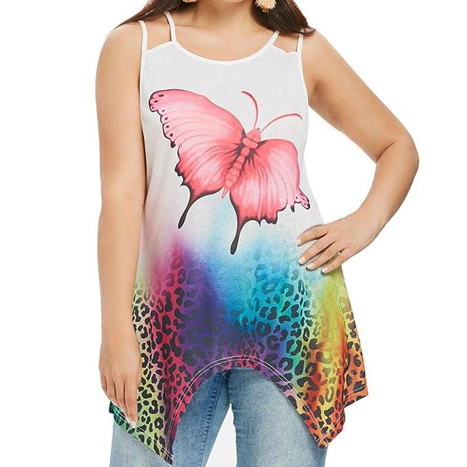 Camiseta sin Mangas sin Mangas para Mujer,Blusa sin Mangas con Estampado Casual