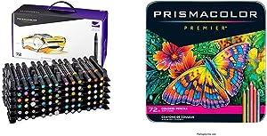 Prismacolor 3722 Premier Double-Ended Art Markers, Fine and Chisel Tip, 72-Count & Premier Colored Pencils, Soft Core, 72 Pack