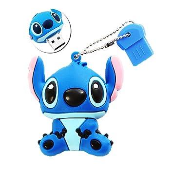 Sunworld Cute Stitch 16GB USB 20 Memory Stick Flash Drive With Keychain Blue
