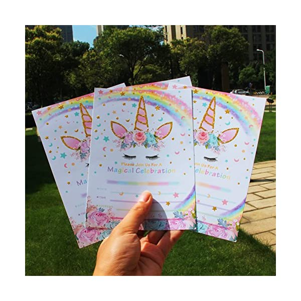 AMZTM Magical Unicorn Party Invitations with Envelopes for Kids Birthday Baby Shower Unicorn Party Supplies 20 Pieces of Fill-in Blank Invitation Card Kit 4