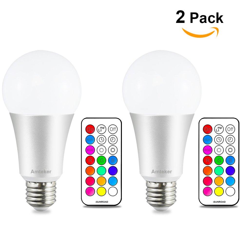 Amteker 12W E27 RGBW LED Bombilla Con 21 Teclas de Control Remoto, Doble Memoria, 12 Colores Múltiples Dimmable Iluminación del Humor Lámpara (Pack de 2)