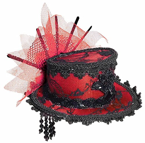 Forum Novelties Women's Costume Black Lace Mini Hat, Red/Black, One Size -