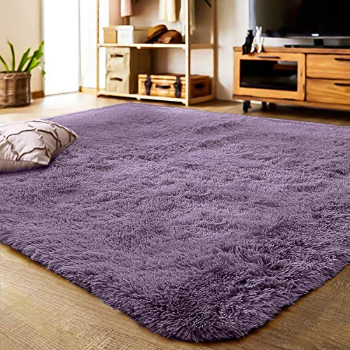 - YJ.GWL Soft Shaggy Area Rugs for Bedroom Kids Room Children Playroom Non-Slip Living Room Carpets Nursery Mat Home Decor 4 x 5.3 Feet (Gray Purple)