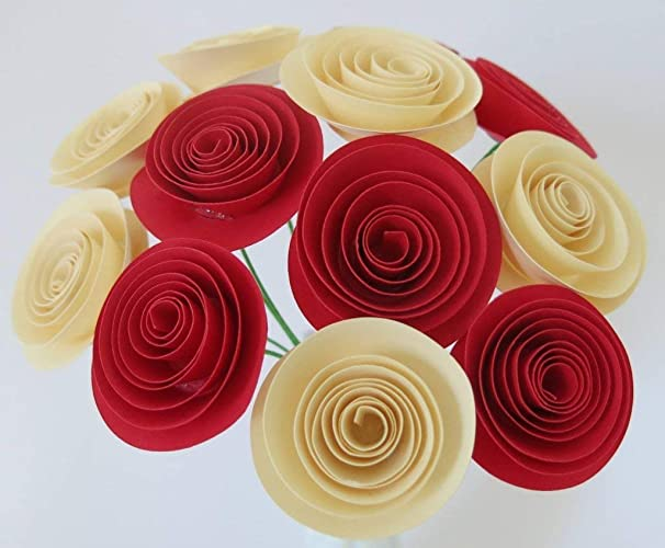 Amazon bouquet of red ivory roses 12 spiral paper stemmed bouquet of red ivory roses 12 spiral paper stemmed flowers table centerpiece 15quot rolled mightylinksfo