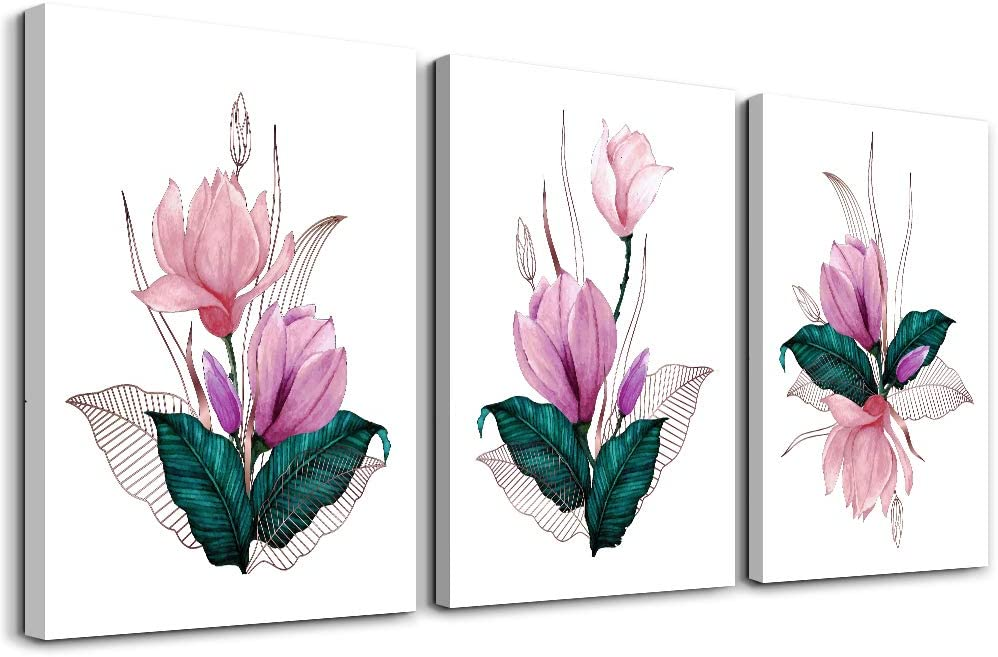 3 piece Framed Canvas Wall Art for Living Room bathroom Wall decor modern family kitchen Wall Artworks restaurant Bedroom Decoration Pink flower pictures inspiration posters Artwork for home walls