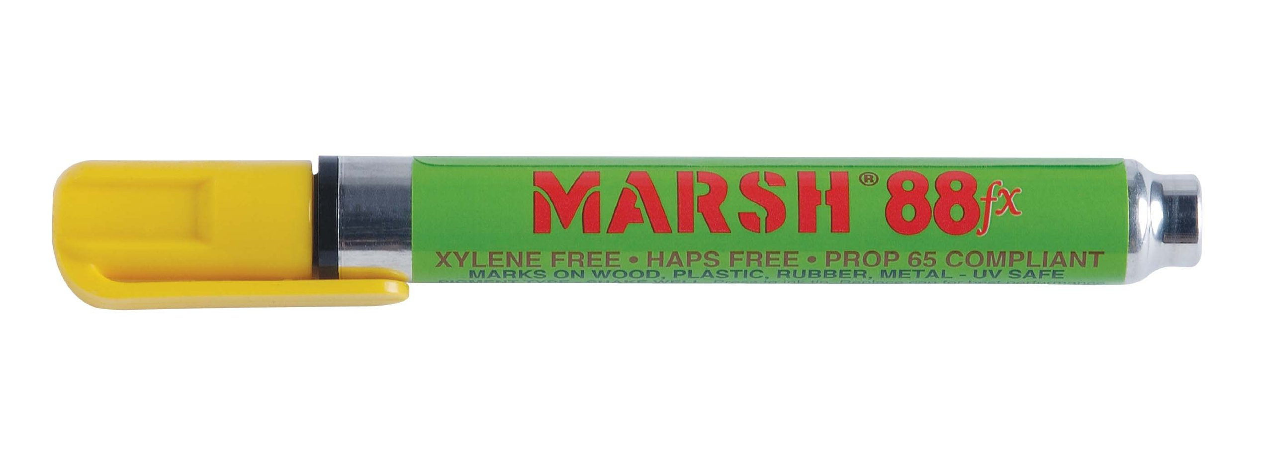 MARSH Alcohol Based FX Pigmented Type Valve Activated Marker, Yellow (Pack of 12)