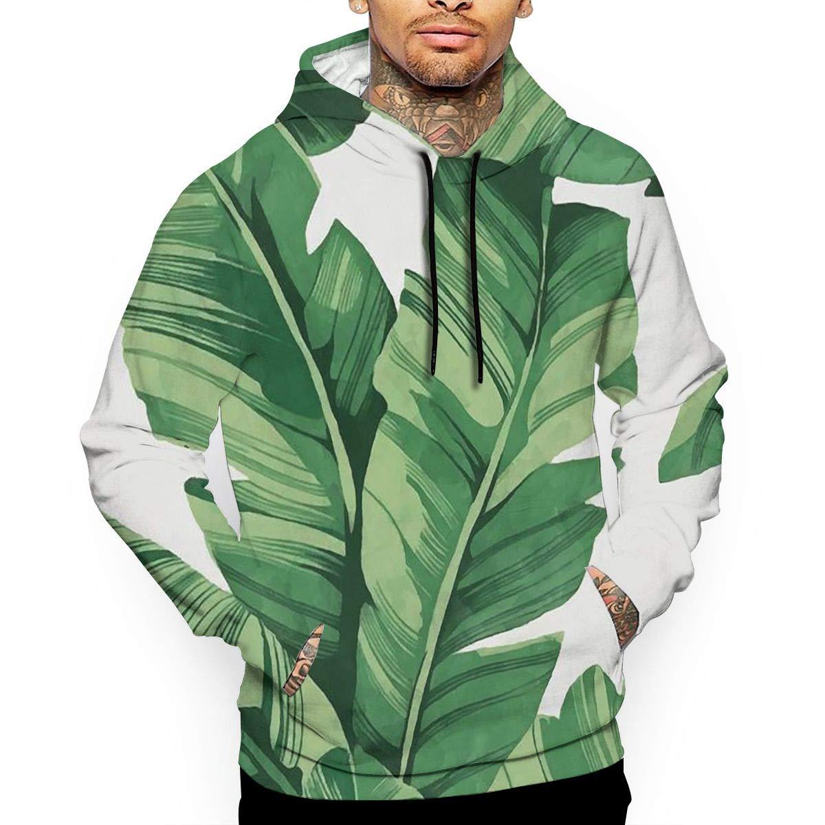 YUANSHAN Tropical Plant Banana Tree Leaves Mans Long Sleeve Hoodie Casual Pocket Hooded Sweatshirt
