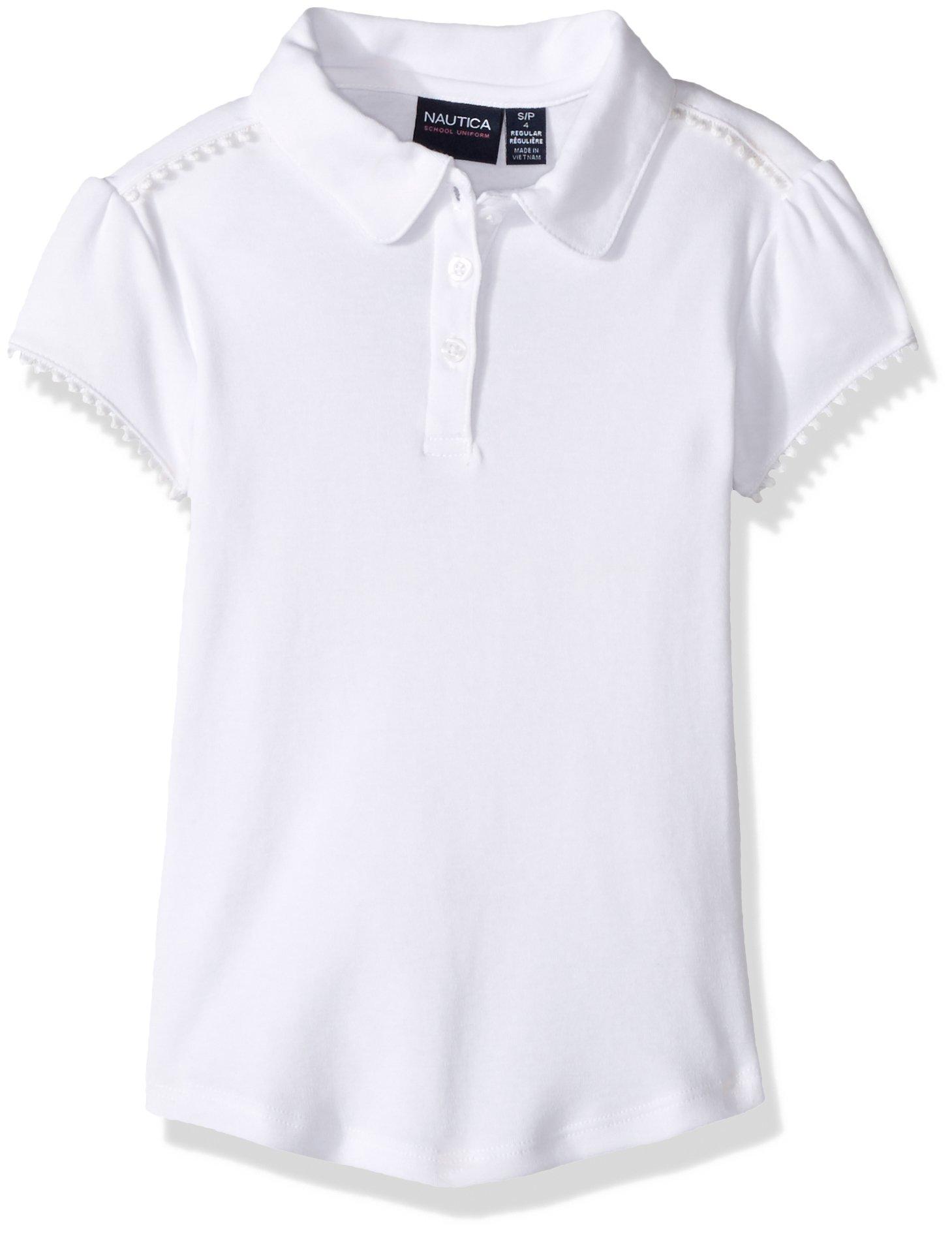 Nautica Girls' Short Sleeve Polo, White/Ruffle Placket, L (6)