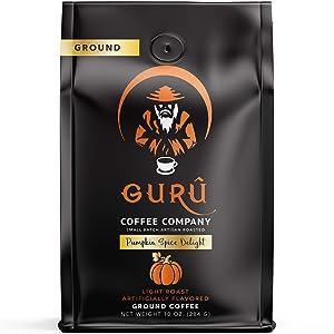 Guru Coffee Company Premium Pumpkin Spice Flavored Ground Coffee, Single Origin Colombia Coffee – Responsibly Sourced Specialty Grade Beans, 10 ounce
