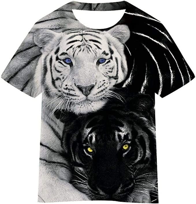 Kids T-Shirt Tiger Art Beautiful Brown 3D Printed Crew Neck Youth T Shirts Tee for Boys Girls Children