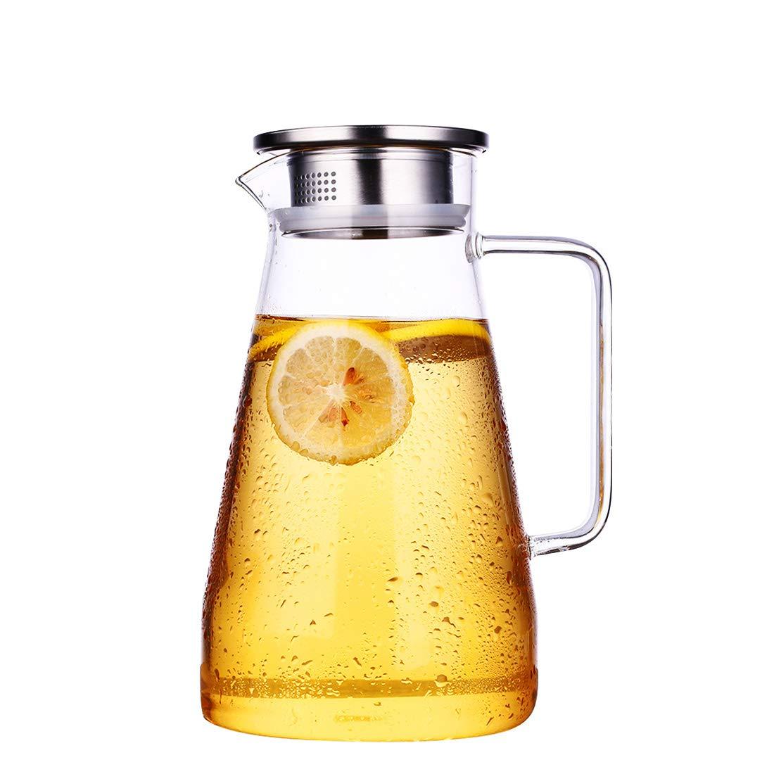 HOLD U FUN 1.8L/63oz Glass Water Carafe Pitcher