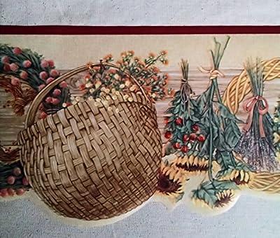 "IMPERIAL 10-1/4"" Floral Baskets Prepasted Wallpaper Border"