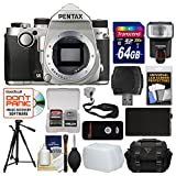 Pentax KP Wi-Fi Digital SLR Camera Body (Silver) with 64GB Card + Case + Flash + Battery + Tripod + Remote + Strap + Kit For Sale