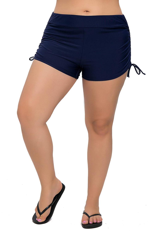 beautyin Women's Pluz Size Swim Shorts Solid Boardshorts Tankini Bottom Swimwear